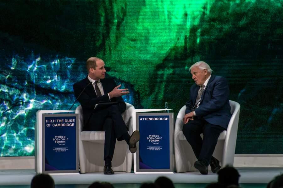 Le prince William et Sir David Attenborough lors d'une conférence à l'occasion du forum économique mondial de Davos, le 22 janvier 2019