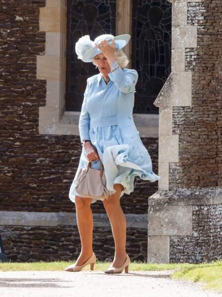 Camilla Parker Bowles lors du baptême de la princesse Charlotte le 5 juillet 2015