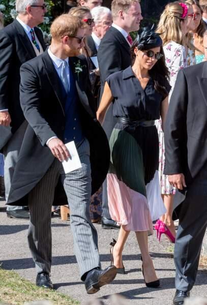 Le prince Harry et Meghan Markle lors du mariage de leur ami Charlie Van Straubenzee, le 4 août 2018 à Frensham.