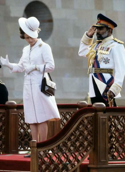 La reine Elizabeth II lors d'une visite à Mascate, au sultanat d'Oman, le 28 février 1979
