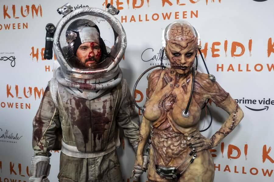 Heidi Klum était assortie à son mari Tom Kaulitz, déguisé, lui en cosmonaute mort.