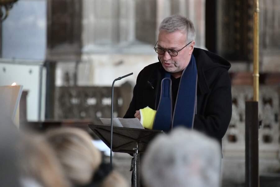 Laurent Ruquier a fait un discours lors des obsèques de Marie Laforêt en l'église Saint-Eustache à Paris, le 7 novembre 2019.