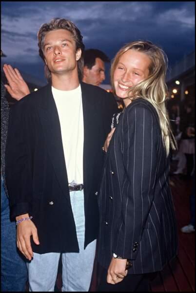 Estelle Lefébure, aux côtés de David Hallyday en 1988.