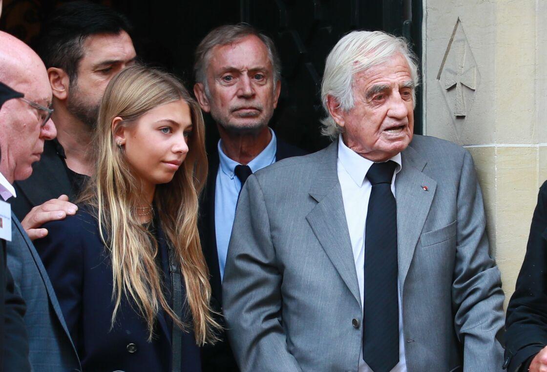 Jean-Paul Belmondo et sa fille Stella, le 25 septembre 2019, aux obsèques de Charles Gérard
