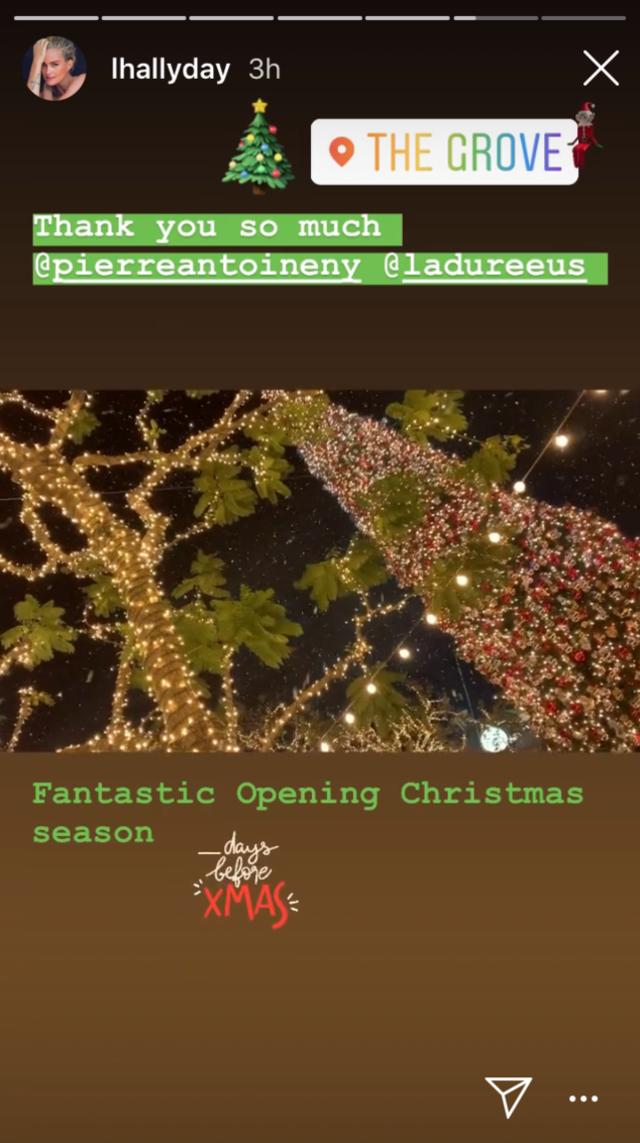 Laeticia Hallyday a assisté au lancement des festivités de Noël de Ladurée à Los Angeles.