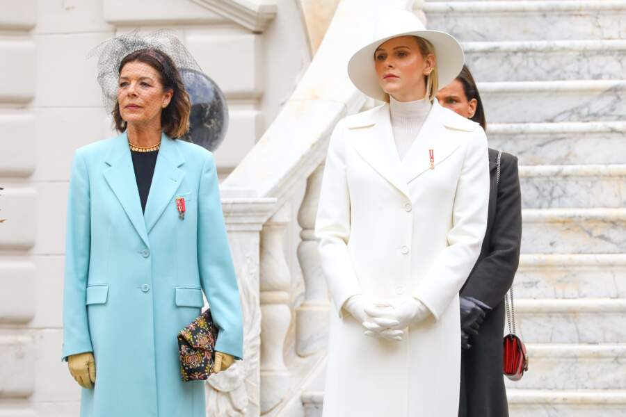 Caroline et Charlene de Monaco prenant la pose lors des festivités de ce 19 novembre