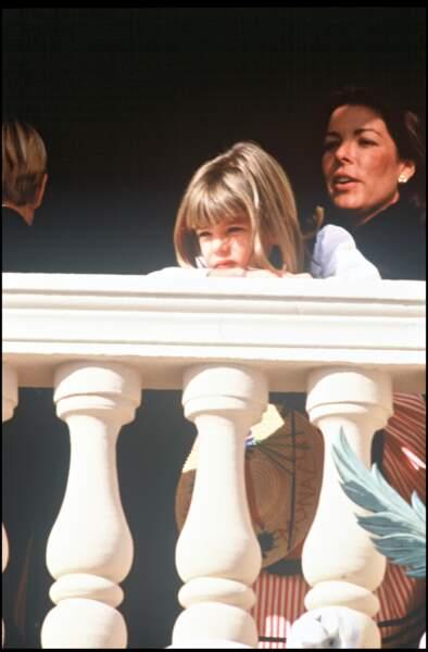 1992 : La Princesse de Monaco et sa fille Charlotte Casiraghi à la fête Nationale Monégasque.