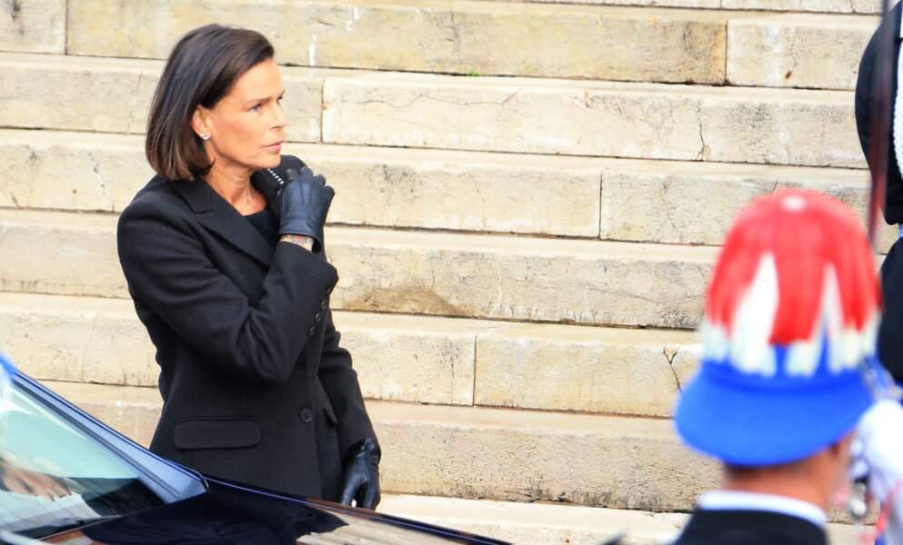 Stéphanie de Monaco a choisi un total look noir pour la Fête nationale de ce 19 novembre 2019