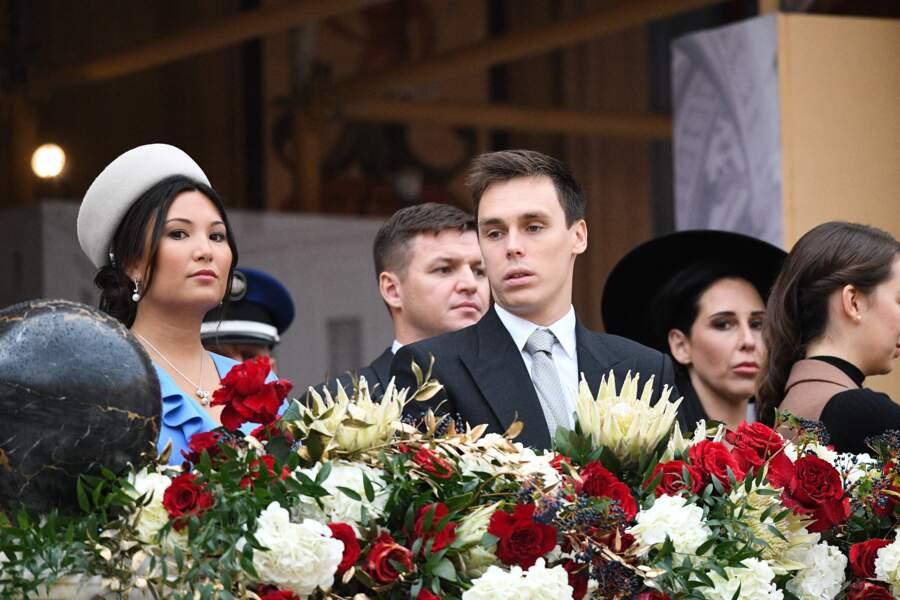 Louis et Marie Ducruet au balcon du palais princier lors de la Fête nationale ce 19 novembre