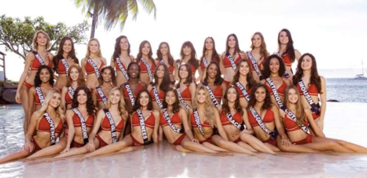 Les candidates au titre de Miss France posent en maillon de bain