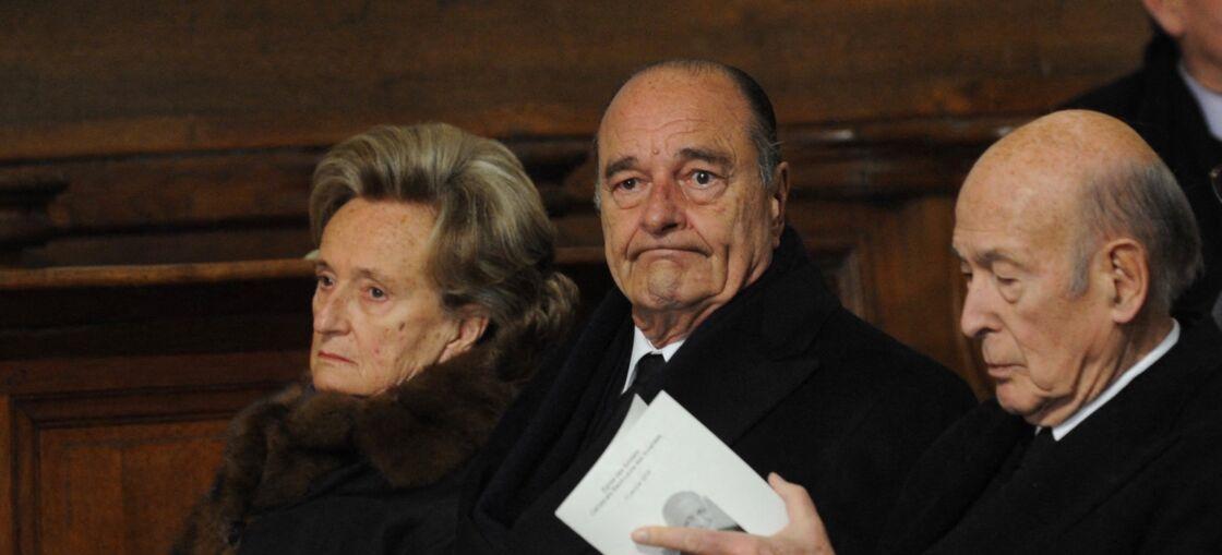 Bernadette Chirac, Jacques Chirac et Valéry Giscard d'Estaing, aux Invalides, à Paris, en 2010.
