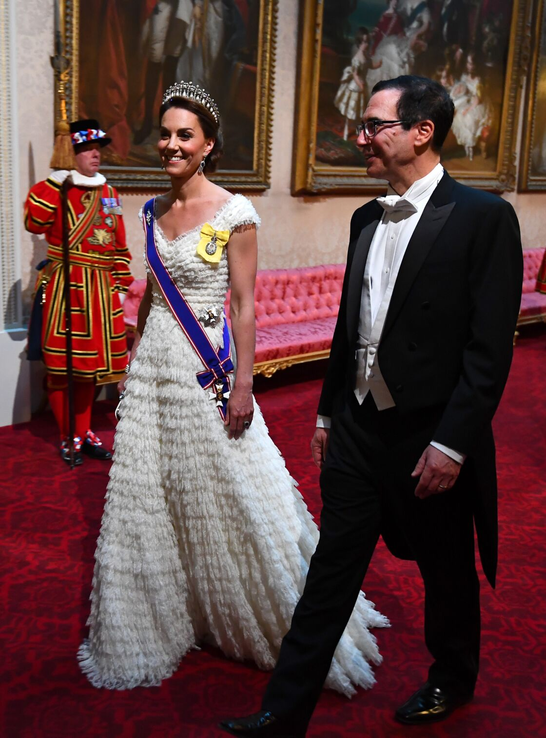 Kate Middleton au dîner organisé pour le couple Trump, à Buckingham Palace, en juin 2019.
