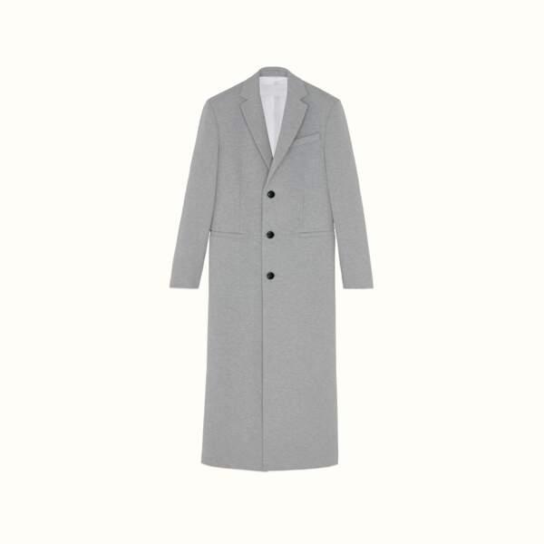 Manteau long coupe droite en jersey chiné couleur Oyster Grey, 1200 €, FENTY.
