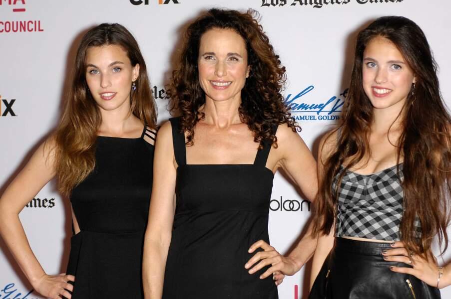 L'actrice Andie MacDowell aux côtés de ses deux filles, Rainey et Margaret Qualley.