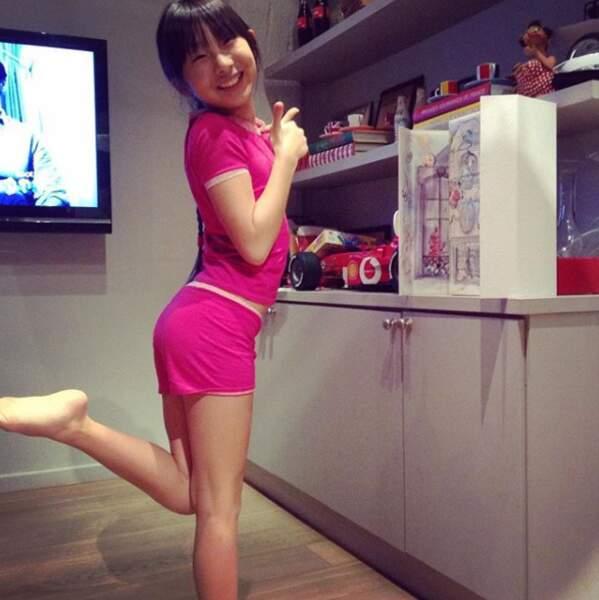 En 2015, Jade Hallyda, trop mignonne en pyjama rose bonbon.