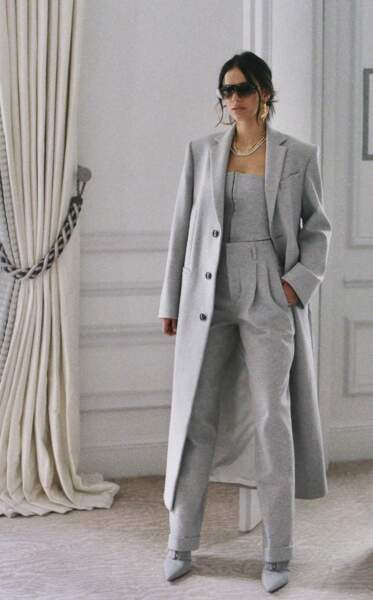 De passage à Paris, Bruna Marquezine a choisi un total look monochrome signé FENTY par Rihanna pour une journée au Plaza Athénée.