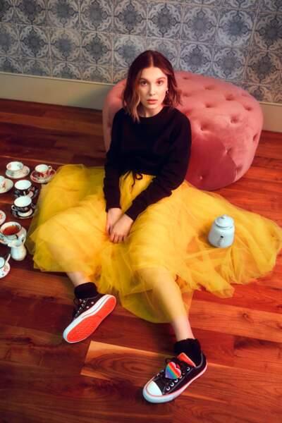 Millie Bobby Brown, 15 ans, mannequin, actrice, créatrice et influenceuse pose pour Converse en 2019. Elle est très connue pour son rôle d'Eleven dans la série à succès, Stranger Things.