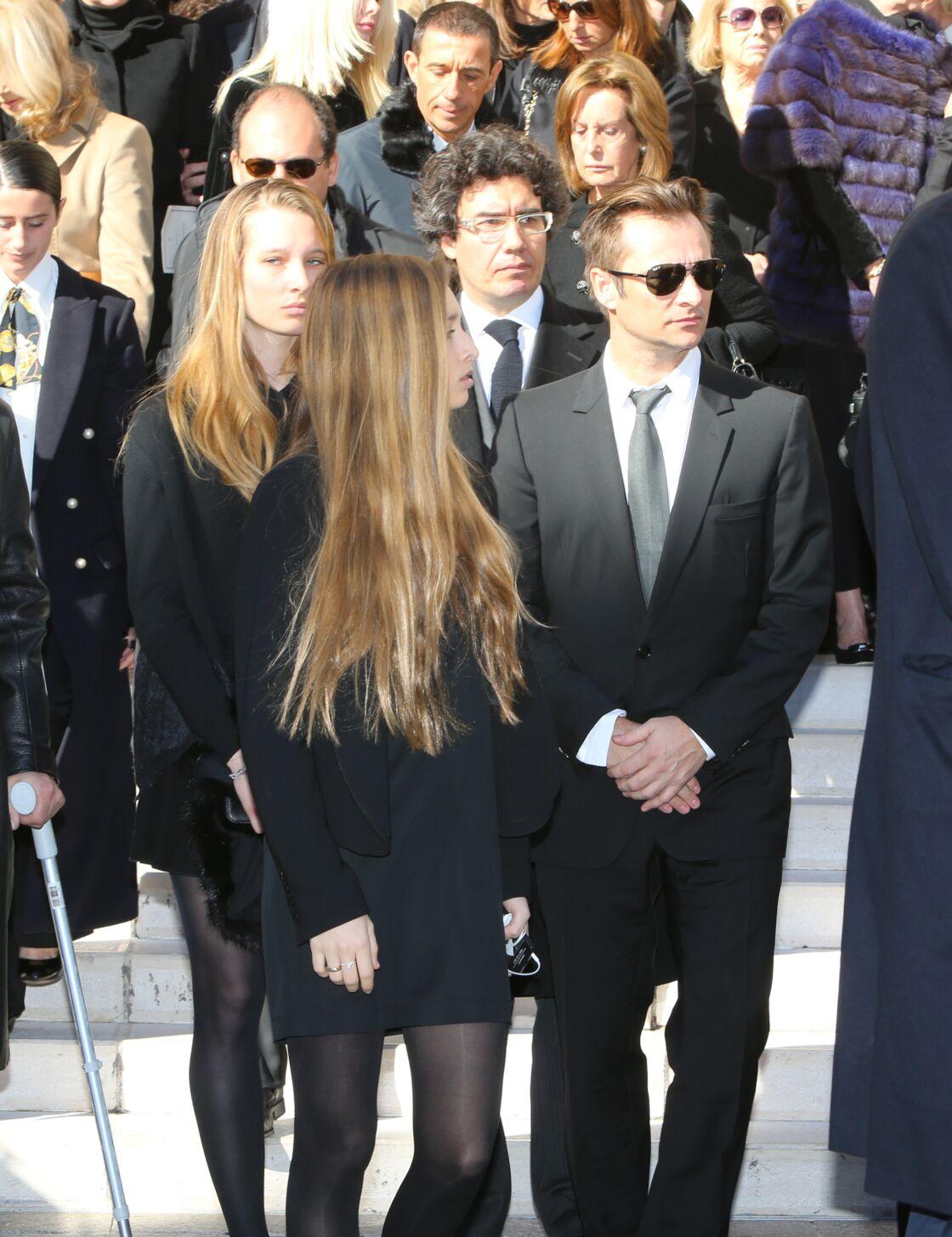 David Hallyday et ses filles Ilona et Emma Smet - Obsèques de Michel Pastor en l'église Saint-Charles à Monaco le 06/02/2014.
