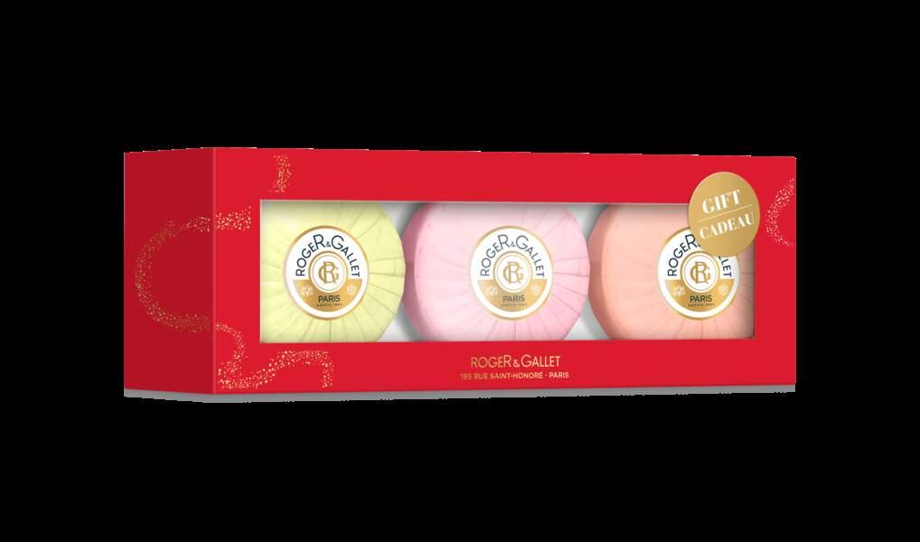 Coffret de savons 3 senteurs, Roger & Gallet, 15€