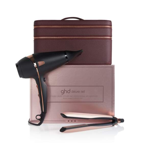 Coffret cheveux Collection Deluxe ghd contenant le styler ghd platinium + sèche cheveux professionnel ghd air, 399€