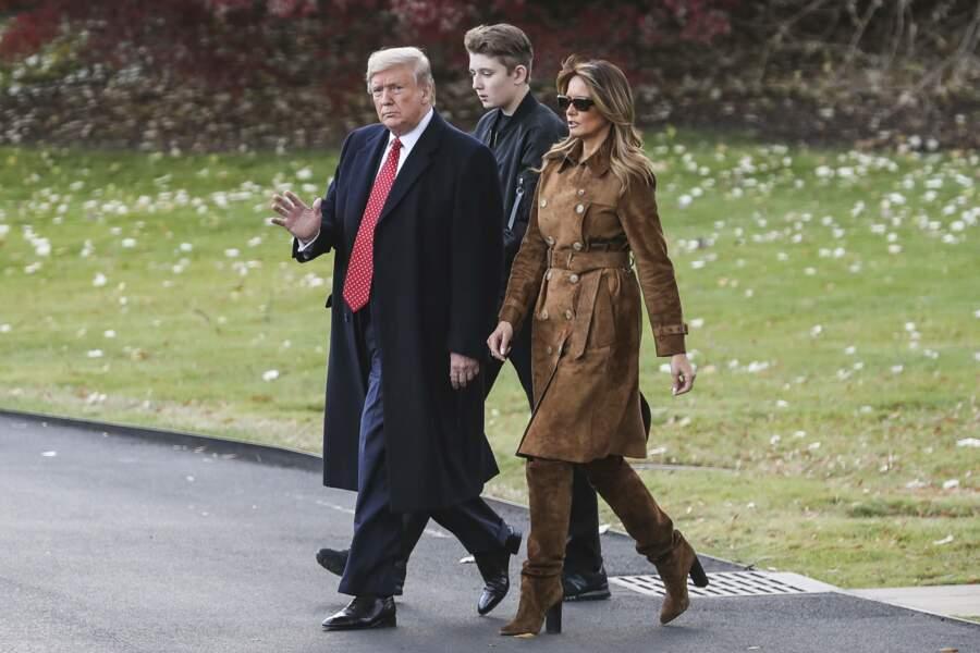 Donald et Melania Trump accompagnés de leur fils unique Barron
