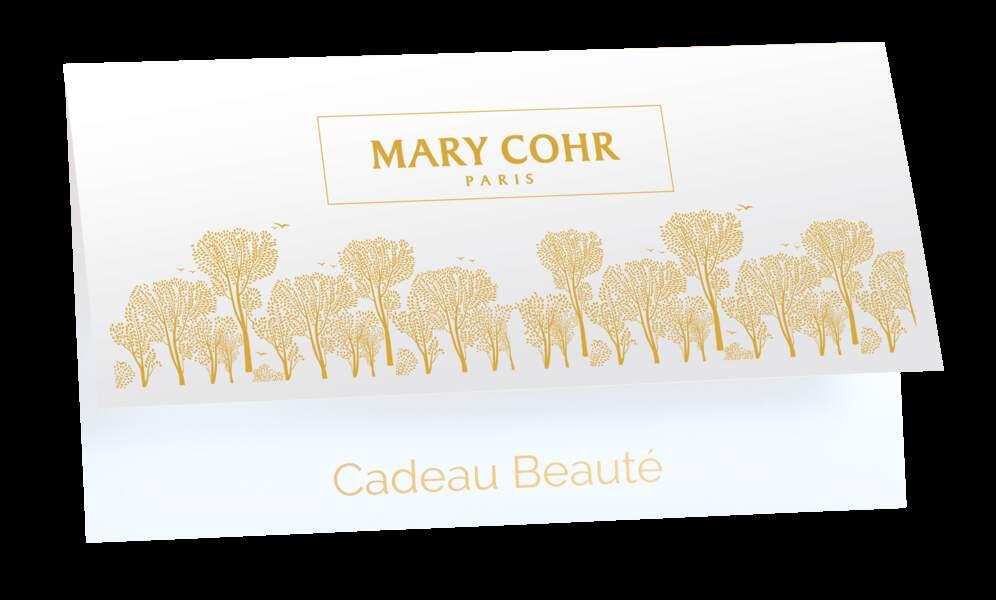 carte cadeaux Mary Cohr, montant libre, dans les instituts Mary Cohr.