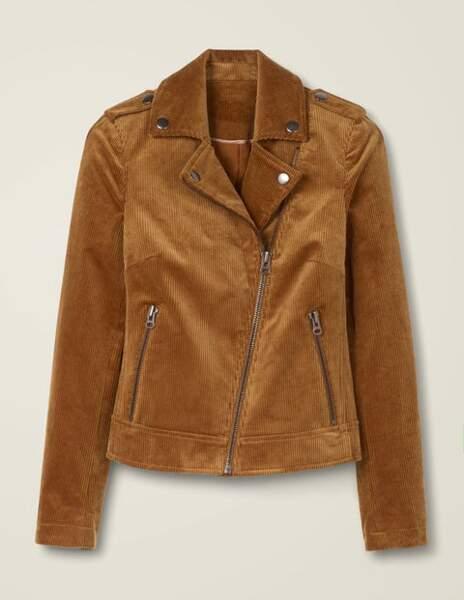 La veste façon biker en velours côtelé teinte fauve, Boden, 140€.
