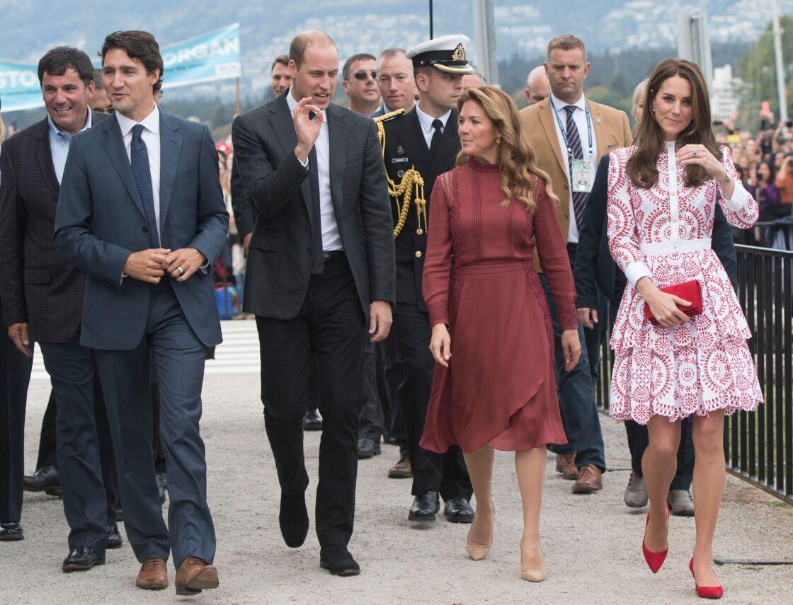 Kate Middleton et le prince William, avec Justin Trudeau et son épouse Sophie, à Vancouver, au Canada, le 25 septembre 2016.