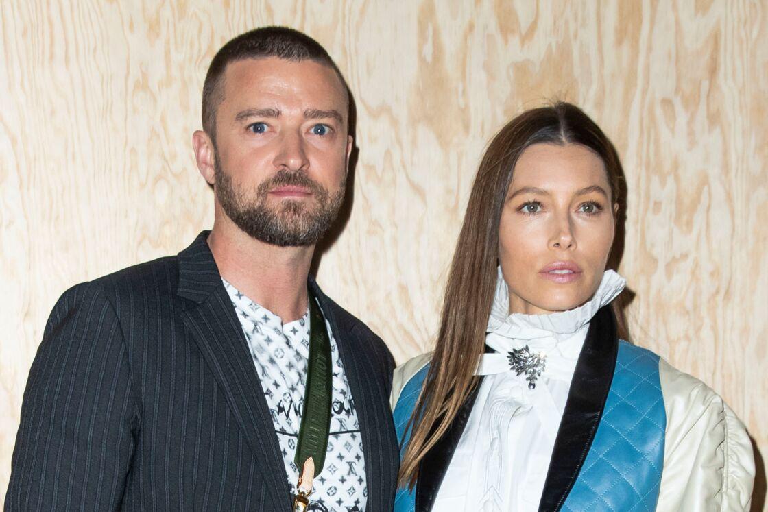 Justin Timberlake et sa femme Jessica Biel - Photocall du défilé de mode PAP femme printemps-été 2020 Louis Vuitton à Paris. Le 1er octobre 2019.