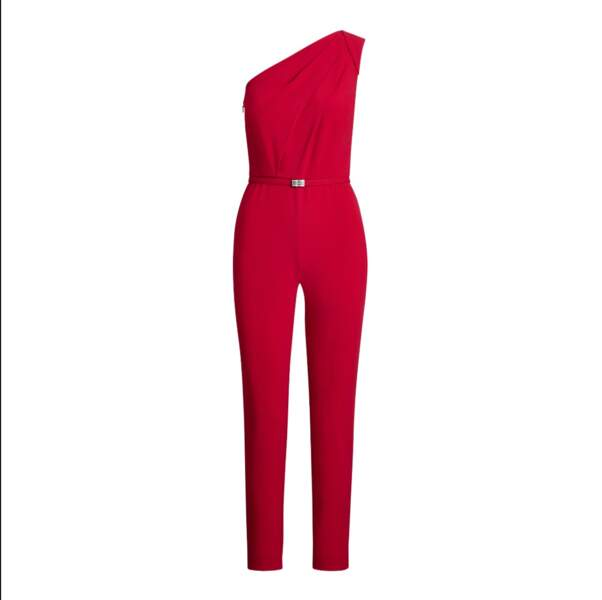 Combinaison ceinturée asymétrique rouge écarlate, Ralph Lauren, 249€.