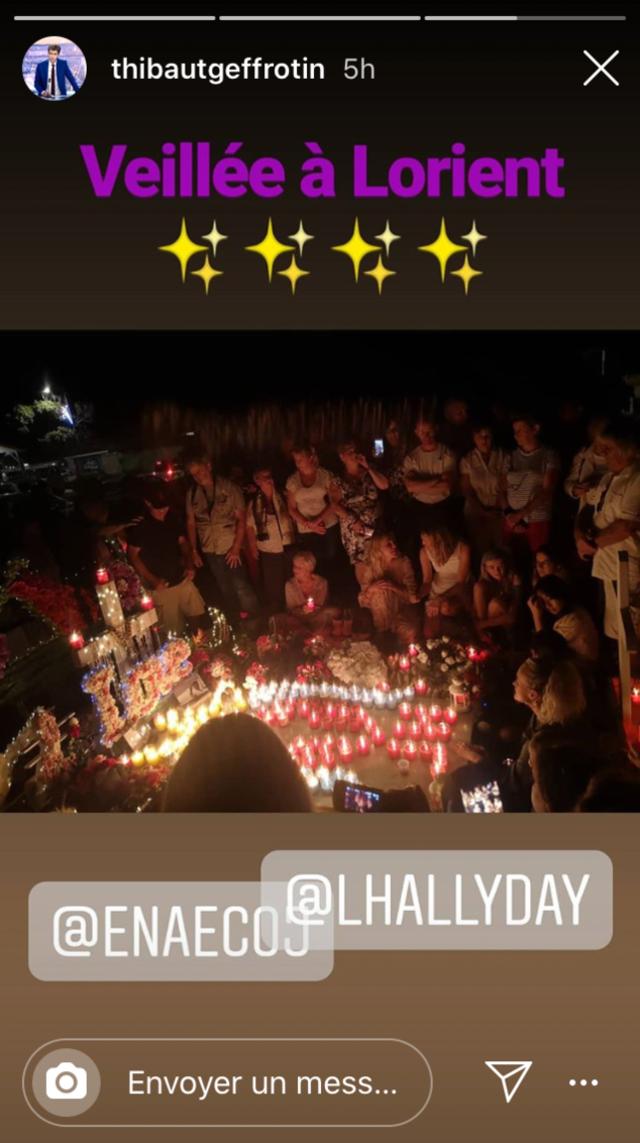 Story Instagram de Thibaut Geffrotin où l'on voit Laeticia Hallyday sur la tombe de Johnny, le jeudi 5 décembre 2019.