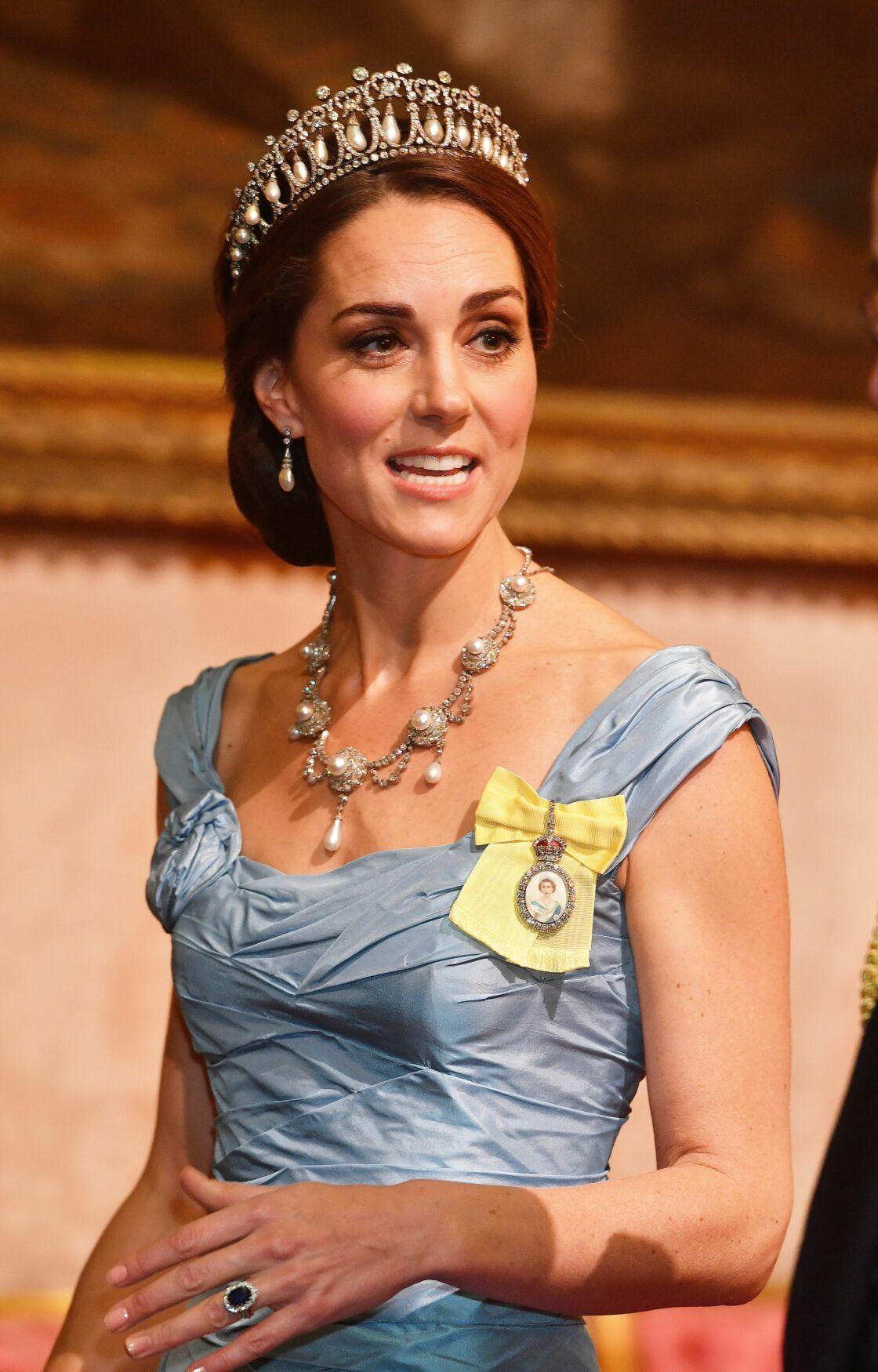 Kate Middleton, parée de la tiare Lover's Knot, pour la réception de Maxima et Willem-Alexander des Pays-Bas à Buckingham,  en octobre 2018.