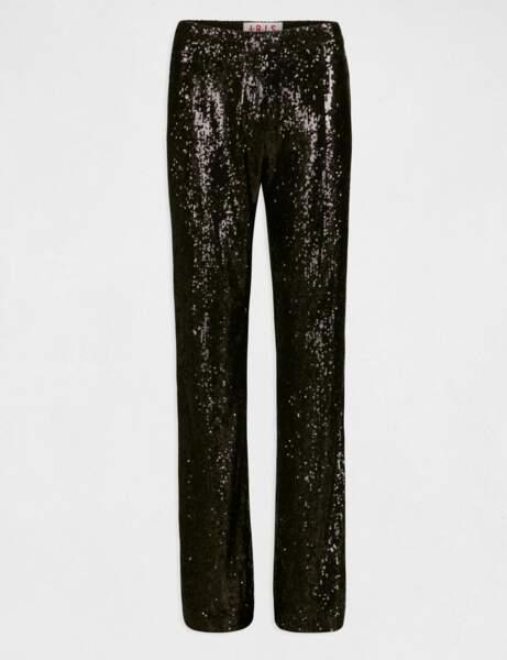 Le pantalon bootcut taille haute en sequins noir, Morgan x Iris Mittenaere, 70€.