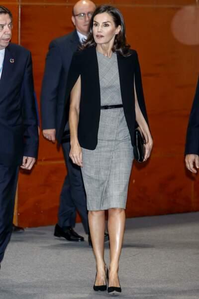 Ce 11 décembre 2019, la reine Letizia d'Espagne a assisté à une réunion sur le développement durable lors de la Cop25, qui se tient à Madrid.