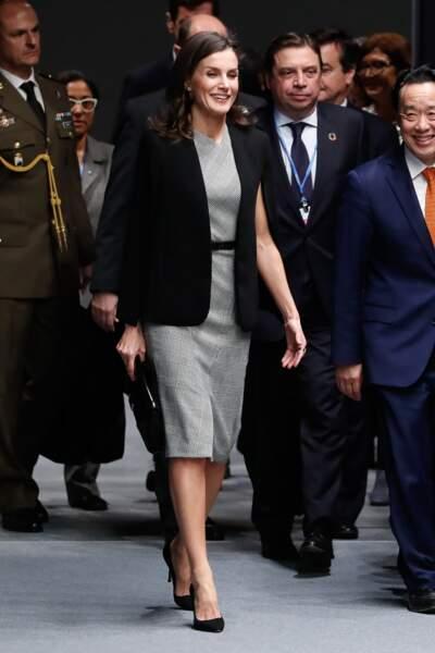 À l'occasion de cet événement, l'épouse de Felipe VI était vêtue d'une robe monochrome, dans les tons gris et blanc, coupée au-dessus du genou.