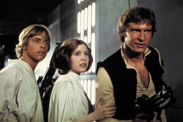 Mark Hamill, Carrie Fisher et Harrison Ford dans