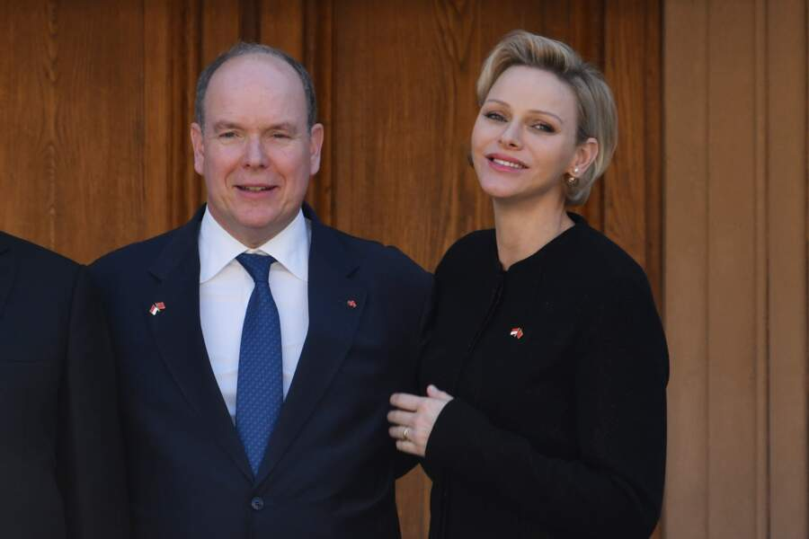 La princesse Charlene et le prince Albert II de Monaco, lors de la réception du couple présidentiel chinois, le 24 mars 2019.