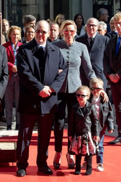 Le Prince Albert II et la princesse Charlène de Monaco avec leurs enfants Jacques et Gabriella, à l'inauguration du One Monte-Carlo, à Monaco, le  le 22 février 2019.