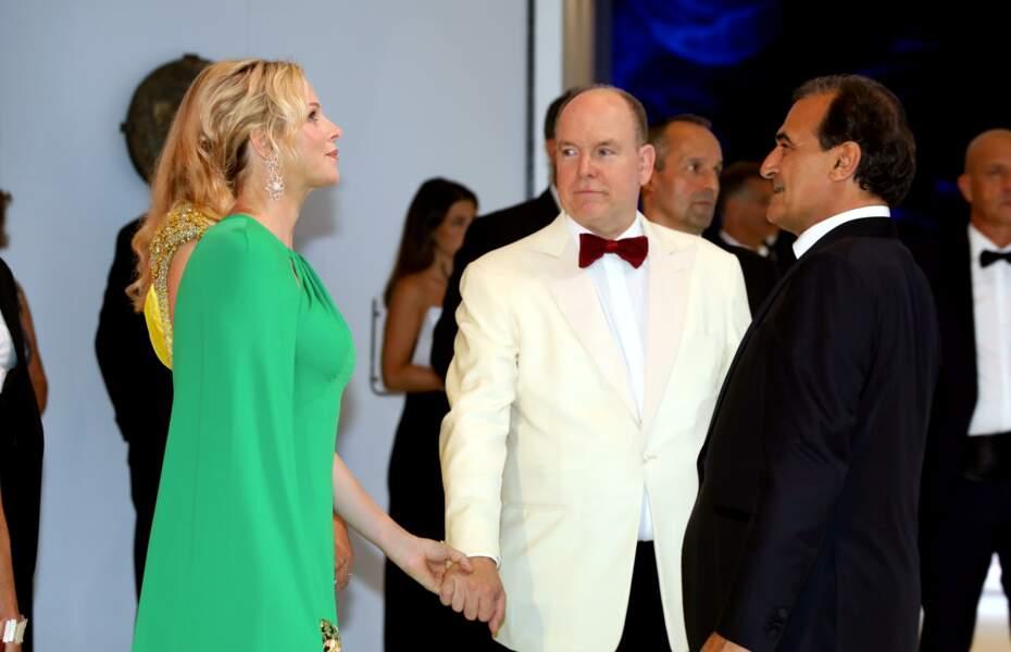 La princesse Charlène et le prince Albert II de Monaco au 71e gala de la Croix-Rouge Monégasque, à Monaco, le 26 juillet 2019.