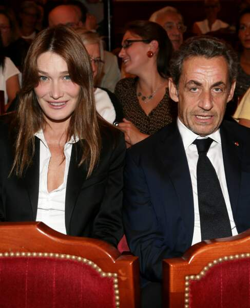 """Nicolas Sarkozy et Carla Bruni sont allés voir la pièce """"Hotel Europe"""" de Bernard-Henri Lévy au Théâtre de l'Atelier à Paris, le 12 septembre 2014."""