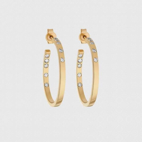 Boucles d'oreilles en or et diamants de synthèse, 2 750 €, Burma.