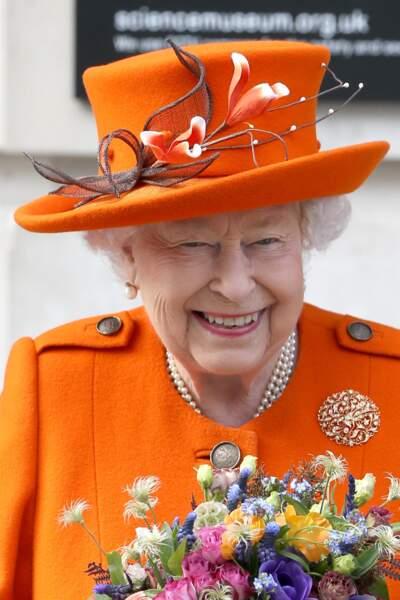 La reine Elizabeth II en visite au Musée des Sciences à Londres le 7 mars 2019