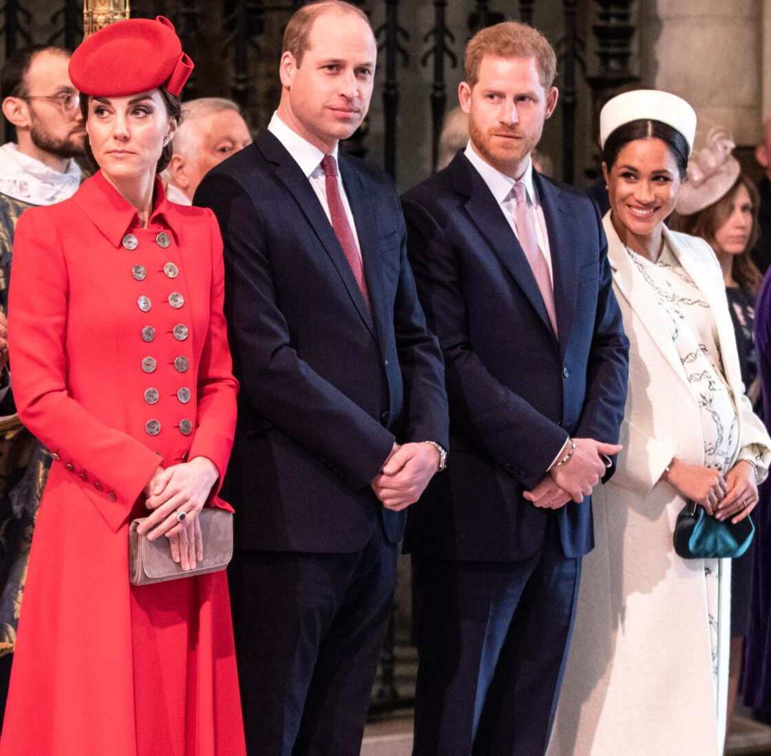 Meghan Markle, Kate Middleton, Harry et William réunis pour la messe, en 2019.