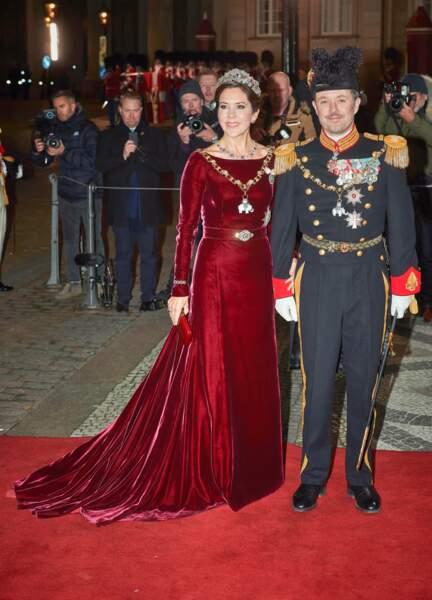 La princesse Mary de Danemark et le prince Frederik de Danemark lors de la réception du Nouvel An de la famille royale danoise au palais d'Amalienborg à Copenhague, Danemark, le 1er janvier 2020.
