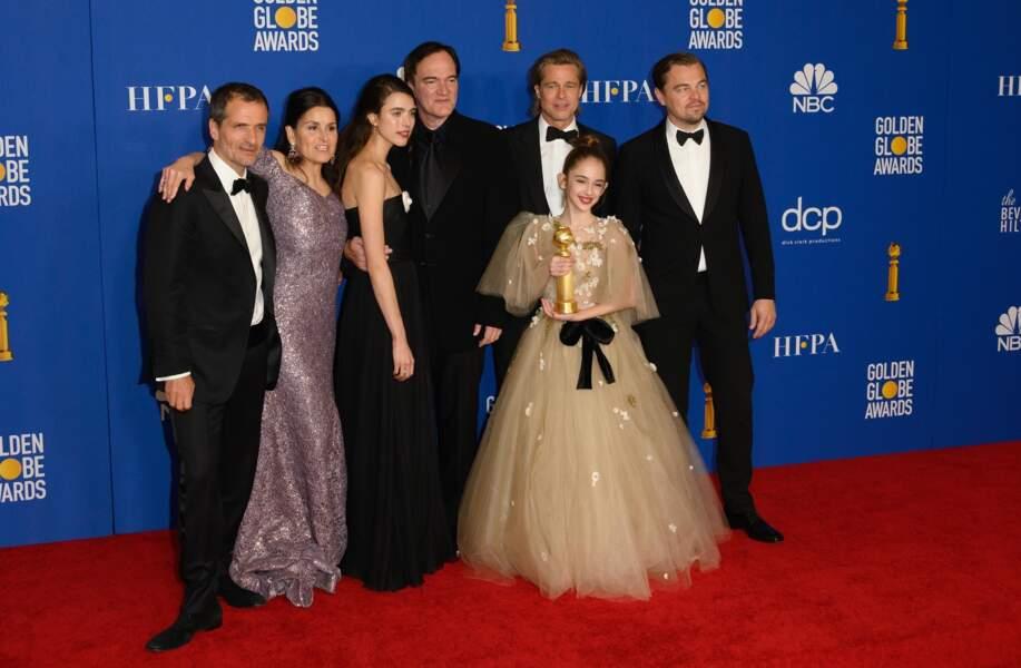 David Heyman, Shannon McIntosh, Margaret Qualley, Quentin Tarantino, Brad Pitt, Julia Butters et Leonardo DiCaprio, une partie de l'équipe du film  Once upon a time in Hollywood.