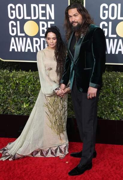 Jason Momoa et sa femme Lisa Bonet en robe Fendi.