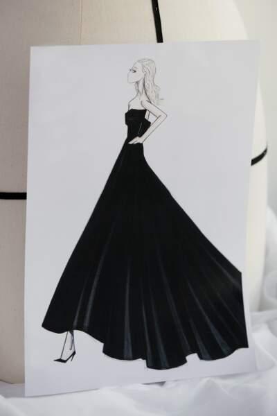 La robe Dior de Jennifer Aniston a nécessité 25 mètres en crêpe de laine soie.
