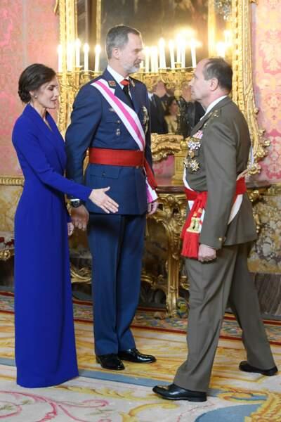 Letizia d'Espagne et le roi Felipe VI le 6 janvier 2020 lors de la parade militaire du Nouvel An.