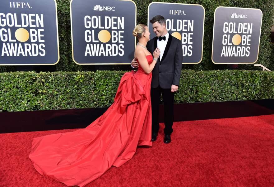Scarlett Johansson et son fiancé Colin Jost, plus souriants et amoureux que jamais.