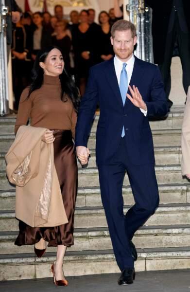 Ce mardi 7 janvier, Meghan Markle et le prince Harry ont réalisé leur premier engagement de l'année en se rendant à la Maison du Canada à Londres.
